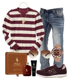 men´s club by alice-fortuna on Polyvore featuring polyvore Gap Rock Revival New Balance Lancaster Italy Ray-Ban Versace Ralph Lauren men's fashion menswear clothing