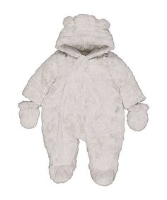 Order a grey fluffy snowsuit today from Mothercare.com. Delivery free on all UK orders over £50. Snow Suit, Gloves, Hoodies, Grey, Cute, Baby Outfits, Baby Products, Prince, Delivery