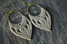 Micro macrame bohemian hoops in beige, Macrame earrings with brass hoops and waxed cord, Summer festival macrame earrings, Gypsy beige hoops Macrame Earrings Tutorial, Macrame Tutorial, Earring Tutorial, Diy Earrings, Crochet Earrings, Macrame Jewelry, Boho Jewelry, Hemp Jewelry, Jewellery