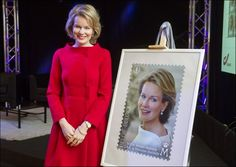 Crown Princess Mathilde at launch of her 40th birthday stamp - MYROYALS FASHİON
