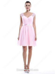 Wholesale Chiffon V-neck Lace Short/Mini Pearl Pink Bridesmaid Dress - dressesofgirl.com