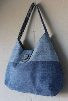 Denim Handbag with Front Magnetic Snap Closure Accented with Button 6282b26295d