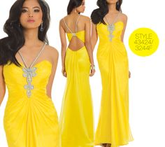 Camille La Vie Rhinestone Roped Prom Dress. Comes in two colors - Canary Yellow and Fuchsia