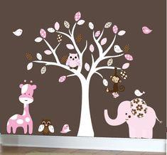 PINK AND BROWN GIRL NURSERY | Nursery jungle wall decals pink and brown girls by couturedecals, $129 ...