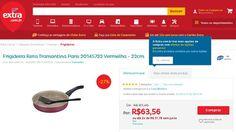 [Extra.com.br] Frigideira Reta Tramontina Paris 20145722 Vermelha - 22cm 1956737 por R$ 50,57
