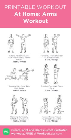 At home: arms workout - illustrated exercise plan created at Hand Weight Workouts, Arm Workouts At Home, Treadmill Workouts, Fun Workouts, 20 Min Workout, Upper Body Cardio, Fitness Workout For Women, Fitness Workouts, Workout Plan For Beginners
