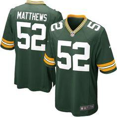 Mens Green Bay Packers Clay Matthews Nike Green Game Jersey  $99.95  XXL   3X   4X