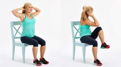 Chair exercises are one example, and they help reduce belly fat in less time than you think. Check out these 5 simple chair exercises and see results in no Easy Workouts, At Home Workouts, Fitness Senior, Total Body Toning, Flat Belly Workout, Workout Bauch, Lose 50 Pounds, 5 Pounds, Chair Yoga