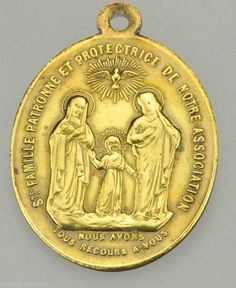 Holy family medal (front side of triple sacred heart medal).
