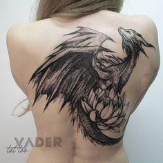 Tattoo Filter is a tattoo community, tattoo gallery and International tattoo artist, studio and event directory. Blackwork dragon tattoo on the back. M Wolf Drache Tattoo Filter is a tattoo community, tattoo gallery and International tatto Back Tattoos, Future Tattoos, Body Art Tattoos, New Tattoos, Girl Tattoos, Celtic Tattoos, Wolf Tattoos, Animal Tattoos, Belly Tattoos