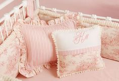 Pink Baby Toile Crib Bedding
