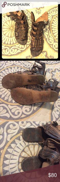 Bed Stu Aurelia Gladiator Sandals Bed Stu zip up gently used gladiator sandals in Teak Lux Bed Stu Shoes Sandals