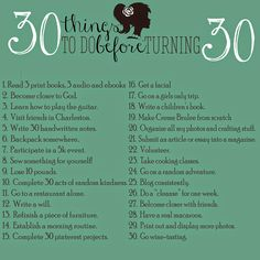 My list for 30 things to do before turning 30