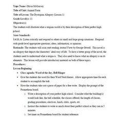 Animal Farm Unit:writing prompt-perfect high school