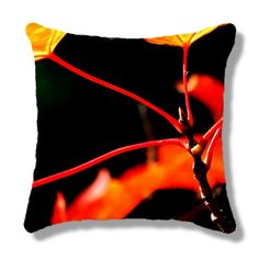 """Throw Pillow 14"""" Square — Burning Maple / Close-up of Maple Leaves & Their Stems With Added Contrast by PhotoClique on Etsy  -- Beautiful products like this can be custom made for you by our members at http://DigiColorCreations.com."""
