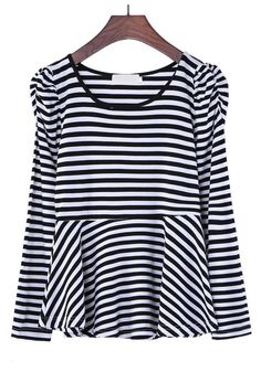 Black Striped Round Neck Long Sleeve Cotton T-Shirt
