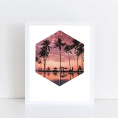 Sunset Palms Art Print  Inspirational Nature Wall by deificusArt