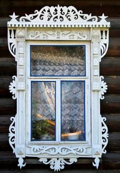 Russian wooden house. Window decorated with openwork carving. #Russia #wooden…