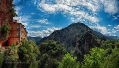 Prousos Monastery.. by MakisBitos trees nature greece travel clouds colors panorama skyline mountain monastery prousos makis bitos eyr