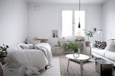 Scandinavian studio apartment in light neutral colors