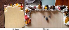 Tagliere di legno decorato. La decorazione è diversa da quella proposta, il topolino (che doveva trovarsi nell'angolo destro) si trova DECAPITATO al centro. Dalla foto non si apprezza una bella impronta del nastro adesivo per pacchi utilizzato per l'imballaggio (ancora una volta insufficiente) che ha rovinato il pezzo. By Vescio's Creations Fimo