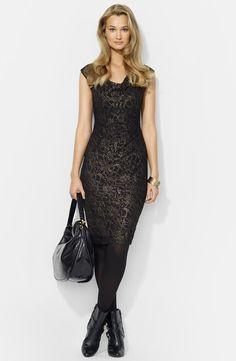 Lauren Ralph Lauren Foiled Lace Sheath Dress (Petite)