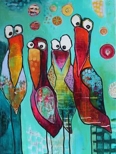 Afbeeldingsresultaat voor Pia Boe art (inspirational canvas art for kids) Pintura Graffiti, Weird Birds, Wal Art, Happy Paintings, Art Paintings, Bird Drawings, Art Journal Inspiration, Whimsical Art, Art Plastique