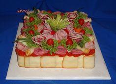 Torty slané, galéria   Torty od mamy Sandwich Cake, Sandwiches, Salty Cake, Waffles, Buffet, Breakfast, Menu, Food, Salad