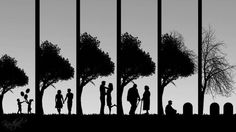 As time goes by - A couple silhouette under the tree in different times of life