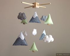 Mountains Baby Mobile, Modern Nursery Decor, Trees Baby Nursery Mobile, Clouds Baby Mobile- Cot/ Crib Mobile - Nature Nursery Decor by BubblyMoon on Etsy