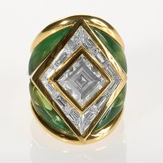 Gold, Diamonds and Tourmaline Ring by Marina B.