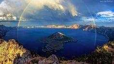 Jezioro, Skały, Tęcza, Wyspa