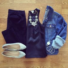 Leather Tank, Jean Jacket, Old Navy Pixie Pants, Glitter Flats, Crystal Vine Necklace | #weekendwear #casualstyle #liketkit | www.liketk.it/19PLt | IG: @whitecoatwardrobe
