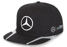 Mercedes Benz Petronas AMG Formula 1 Lewis Hamilton Black Flat Brim Hat