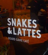 Snakes & Lattes (600 Bloor St. West) - a board game café. Shelving units bursting with games. Crack open a 'fin du monde', or cuddle up with a melt-your-own hot chocolate and prepare to stay.  Shout outs to Animal upon Animal, Carmen San Diego, Bananagrams, Would You Rather & Apples to Apples.