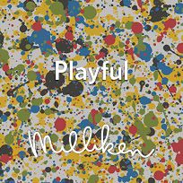 Let's have a playdate! Milliken's NeoCon buttons inspired by the Art Media collection.