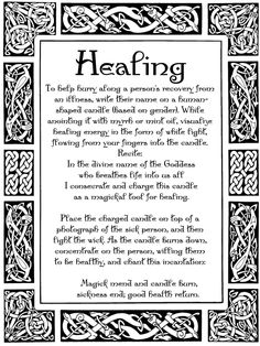 Help recover from illness, book of shadows, spells, witch, witchcraft, magick, magic, magik,