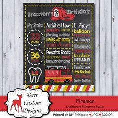 This fireman chalkboard birthday poster is a perfect way to celebrate your little fire fighter's birthday. The birthday poster is personalized with your child's name and party details and can be created for any age. 1st Birthday Chalkboard, Fireman Birthday, Little Blue Trucks, First Birthday Party Themes, Chalkboard Poster, Digital Invitations, Kid Names, Firefighter, First Birthdays