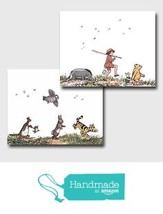 "(Set of 2) Classic Pooh Nursery Wall Art (Winnie the Pooh Decor, Baby Room Prints) ""Animal Parade"" -- Unframed from Cloud Nine Prints https://www.amazon.com/dp/B01KVQX1JE/ref=hnd_sw_r_pi_awdo_L0KiybX1DF2AP #handmadeatamazon"