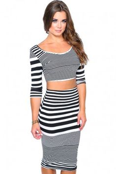FINE LINES STRIPE CROP SET