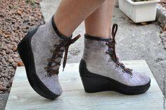 Купить Валяные ботинки из войлока и натуральной кожи - бежевый, обувь ручной работы, валяная обувь