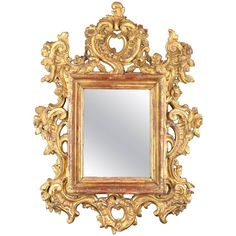"""View this item and discover similar for sale at - Rococo carved wood frame, century. Carved wood rectangular frame decorated with a symmetrical composition of """"rocaille"""", architectural elements and Antique Frames, Architectural Elements, Small Flowers, Decorative Objects, 18th Century, Baroque, Picture Frames, Carving, Carved Wood"""