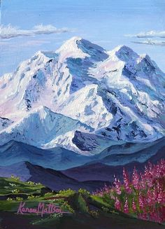 Denali Fireweed Hill by Karen Mattson Acrylic ~ 7 x 5 Acrylic Painting Techniques, Acrylic Painting Canvas, Acrylic Art, Watercolor Landscape, Landscape Art, Landscape Paintings, Landscapes, Mountain Drawing, Mountain Art