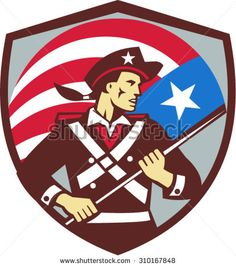 Illustration of an American patriot brandishing holding American USA flag looking to the side, set inside shield crest done in retro style.  - stock vector #patriot #retro #illustration