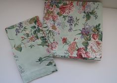 3 Piece Sheet Set by Fieldcrest - Queen Flat Plus 2 Pillowcases - Pastel Flowers on Mint Green - Vintage Floral Bedding Linens by shabbyshopgirls on Etsy