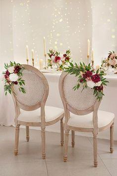 Burgundy Wedding Theme, Church Wedding Decorations, Wedding Arrangements, Floral Arrangements, Rose Decor, Wedding Chairs, Wedding Ideas, Diy Wedding, Farm Wedding