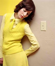 Miranda July all in yellow. Photographed by Autumn de Wilde. Styled by Shirley Kurata. Miranda July, Librarian Chic, Women Ties, Mellow Yellow, Vintage Sweaters, Stylists, Style Inspiration, My Style, Lady