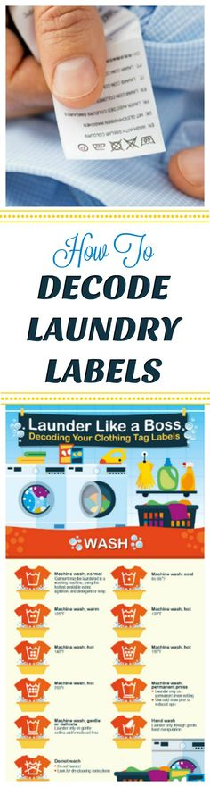 How To Decode Laundry Labels - Know whether and how to wash clothing and what laundry products are safe to use with this handy printable chart Laundry Sorting, Doing Laundry, Laundry Hacks, Laundry Room, Diy Cleaning Products, Cleaning Hacks, Laundry Labels, Clothing Tags, Cleaners Homemade