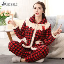 JRMISSLI mujeres invierno pijama conjunto engrosamiento de Tela Escocesa Roja de Franela pijamas ropa de dormir de manga larga de las señoras de las mujeres que arropan el sistema(China (Mainland))
