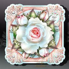 Vintage Soft Blue White Roses Card